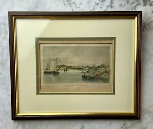 Southtown, Suffolk, View on the Yare river Hand coloured etching c1800/1850 Fram