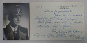 WW2 GERMAN NAVY GROSSADMIRAL KARL DONITZ AUTOGRAPHED PHOTO & SIGNED LETTER