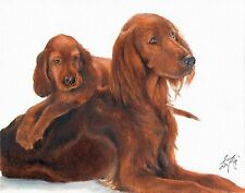Original Oil Art IRISH SETTER Portrait Painting PUPPY DOG Artist Signed Artwork
