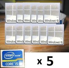 5 X Pegatina Libre equipo Windows 8 + i5 i3 i7 Intel Inside Core PC 10 Genuino 7
