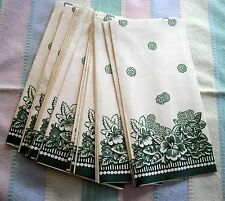 Vintage Paper Napkins ~ Off-white w/ Green flowers  ~ Set of 18 ~