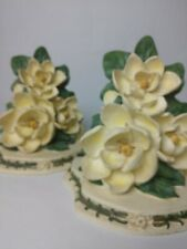 """Magnolia Blossom Book Ends/Wall Decor 7.5"""" Creamy Yellow with Green"""