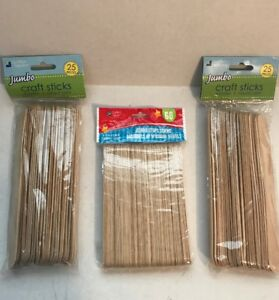 Lot of 3 Packages of Crafter's Square Jumbo Wooden Craft Sticks - 110 Total