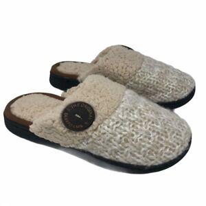 Dearfoams Womens Slippers Size 5-6 Memory Foam Shearling Oatmeal NWT New in Box