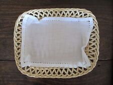 Hand Made Bread Basket and White Cloth @ 6.5 x 8.5 x 2""