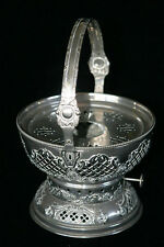 Vintage métal ornement frottement plat base food warmer base en métal brûleur