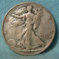1938-D WALKING LIBERTY SILVER HALF DOLLAR VF * US Coin #3514