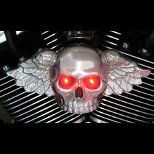 Winged skull horn cover. Polished aluminum with LED eyes.  Harley Davidson. WL4