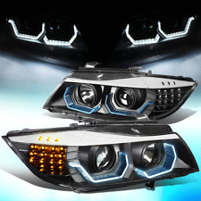 FOR 2009-2012 BMW 3-SERIES E90 4-DR LED 3D CRYSTAL U-HALO HEADLIGHT/LAMPS BLACK