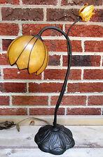 Antique Vintage Art Deco Nouveau Table Metal Desk Lamp Yellow Flowers