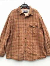 Woolrich Men's British Tan Sherpa Fleece Lined Flannel Plaid Shirt Sz XL