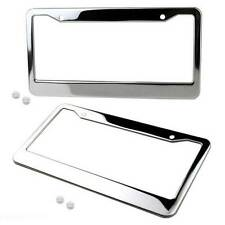 US Ca 2pcs Chrome Stainless Steel Car Truck License Number Plate Frame+Screw Cap