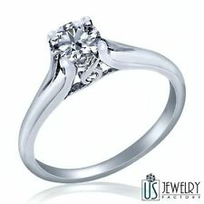 Natural Solitaire Surprise Round Diamond Engagement Ring 14k Solid Gold 0.51ct