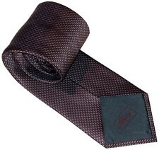 NEW BRIONI DARK TEAL SILVER & MAROON 3D WEAVE 100% SILK NECK TIE