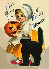 REPRINT PICTURE of old postcard HALLOWEEN HERE'S WISHING YOU A HAPPY 5x7