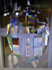 Huge 63mm Asfour Crystal Matrix Oval Prism Suncatcher  Very Heavily Faceted!