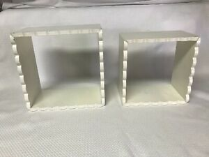 "Set of 2 Hanging Shadow Box Shelves Shabby Chic White 8.5"" & 7.25"" Square"