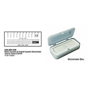 Stage Micrometer Metric & English System Calibration Glass Slide for Microscope