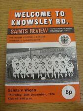 26/12/1974 programma Rugby League: ST. Helens V Wigan (Team modifiche). articolo INTER