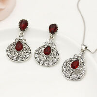 Boho Silver Jewelry Set Turkish Waterdrop Ruby Crystal Earrings+Necklace Party