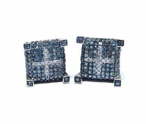 10k White Gold Blue and White Diamond Cross Pattern Stud Earring 1.00ct