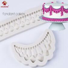 2Pcs Silicone Embossing Mold Gum Paste Fondant Cake Lace Border Icing Decor Set