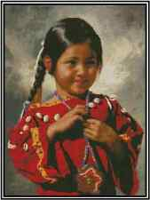 Cross Stitch Chart NATIVE AMERICAN YOUNG GIRL #21-140 (Large Print)