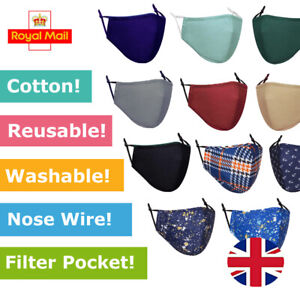 Mens Adults Cotton Face Covering with Filter Pocket Reusable Washable Designer