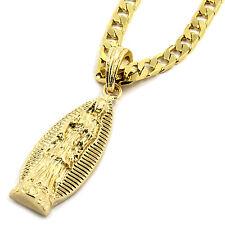 "Mens 14K Gold Plated Long Virgin Mary Pendant Hip-Hop 5mm/24"" Flat Cuban Chain"