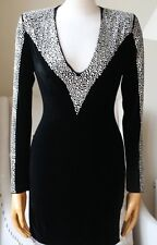 Balmain Crystal Embellished Velvet Mini Dress FR 36 UK 8