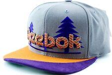 Reebok NK99Z Embroidered Trees Logo Snapback Flat Bill Cap Hat Gray/Purp/Orange