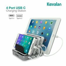 Kavalan 4 Port Usb, A,C Charging Station Dock & Organizer – Cell Phone Tablet
