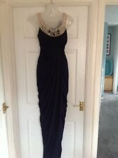 ADRIANNA PAPELL NAVY LONG GRECIAN DRESS SIZE 14 BRIDESMAID PROM RACES WEDDING