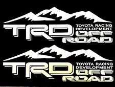 2 WHITE TOYOTA RACING TRD TRUCK OFF ROAD 4x4 TUNDRA TACOMA DECAL STICKER SUV