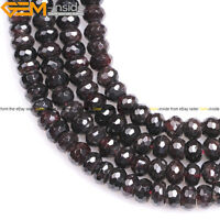 Natural Gemstone Rondelle Red Garnet Spacer Beads Jewelry Making 15''  Wholesale