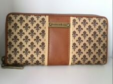 Auth PATRICK COX Gold Brown Beige PVC &  Leather Long Wallet