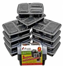 3 Compartment Bento Box Meal Prep Containers Food Storage Tray 32 oz Plastic