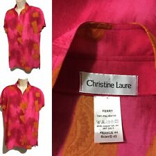 CHRISTINE LAURE Hot Pink Orange Women's UK 12 Blouse Shirt Boutique Top French
