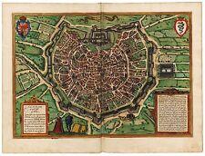 Old Vintage Milan Italy decorative map Braun ca. 1572
