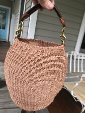 Clare Vivier V Woven Straw Bucket Bag Tote Leather Handle