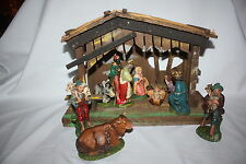 Vintage Large 1940-50 Nativity Set With Stable Manager Made In Italy 10 Figurine