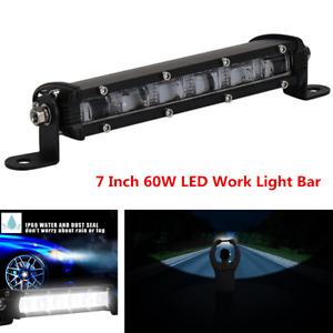 7 Inch Slim 60W Off Road Truck Flood Beam LED Work Light Bar Fog Lamp Waterproof