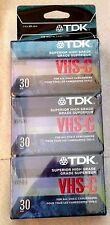 TDK VHS-C 3-Pack 30-min. Tapes for Camcorder Video Cameras SUPERIOR HIGH GRADE