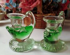 "Vintage   Pair Of Apple Green Swan Paperweight Candle Holders 4""  Rare"
