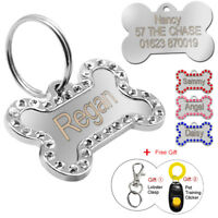Personalised Dog Tags Engraved Pet Puppy Cat Name Bone Shape Dogs ID Tags Bling