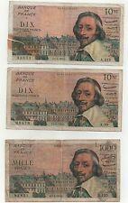 3 billets 1000 frs et 10 nf richelieu