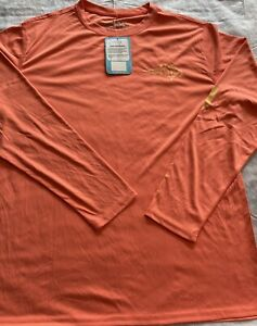 NWT Reel Life Graphic Long Sleeve UPF 50+  Tee Crew Shirt Men's/ Sz Large Coral