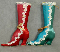 Christmas Ornament Fabric VICTORIAN Shoe BOOT '50s Satin Blue Red 2 USA SELLER