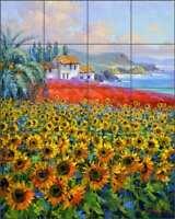 Mediterranean Tile Backsplash Mikki Senkarik Sunflower Art Ceramic Mural MSA233
