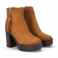 New Ladies Ankle Boot Tan Suede UK 3-8!